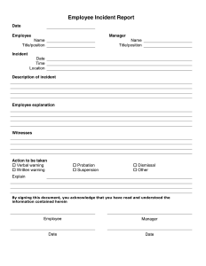 written warning form incident report template
