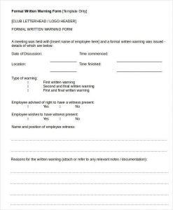 written warning template formal written warning form