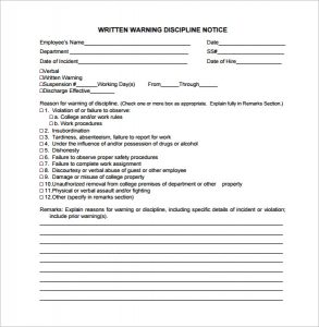 written warning template written warning discipline notice