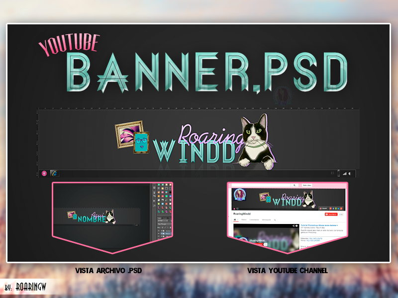 youtube banner template psd
